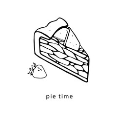 Pie slice and strawberry. Hand drawn illustration.