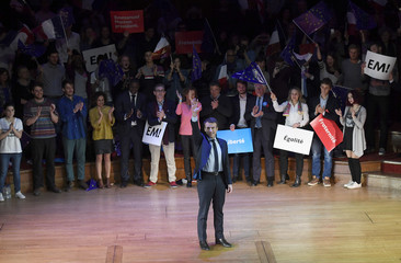 Emmanuel Macron, candidate in France's 2017 French presidential election, arrives to deliver an address for French nationals in London