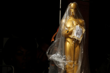 A statue draped in plastic bears the name of Kelly Ripa on the red carpet outside the Dolby Theatre as preparations continue for the 89th Academy Awards in Hollywood, Los Angeles, California
