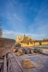 Docks of Notre Dame Cathedral in Paris