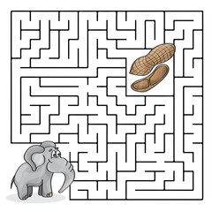 Education Maze or Labyrinth Game for Children with Cute Elephant and Peanuts
