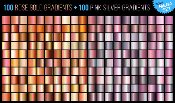 Vector mega set of 100 rose gold and 100 pink silver gradients. Trends color background texture. Mega collection metallic and golden gradient illustration for fashion design.