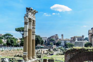 Columns; Foro Imperiale; Hole; via dei Fori Imperiali; Rome; Lazio; Italy; Europe