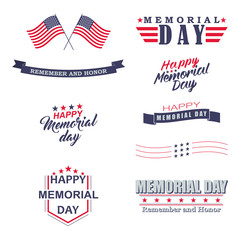 Vector Memorial day design elements. Happy Memorial Day, Remember and Honor lettering for holiday design.