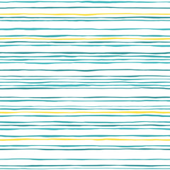 Waves seamless pattern. Hand drawn lines abstract background. Blue and yellow stripes texture. Sketch vector illustration