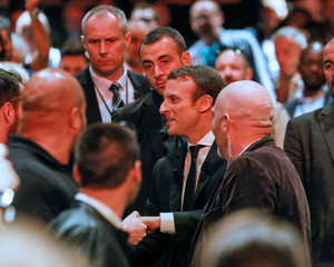 Emmanuel Macron, head of the political movement En Marche ! (Onwards !) and candidate for the 2017 presidential election, arrives at a campaign rally in Besancon