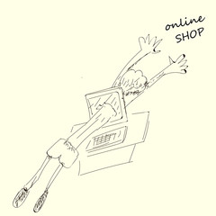 online shopping concept, hand drawn shop online, compute shopping, men shopping through laptop, computer