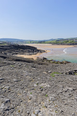 The cuberris beach in Ajo in Cantabria
