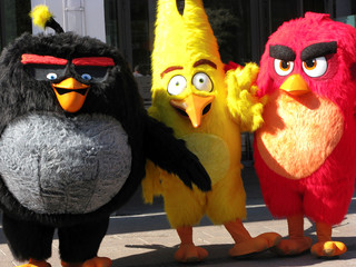 FILE PHOTO: Angry Birds characters Bomb, Chuck and Red are pictured during the premiere in Helsinki, Finland