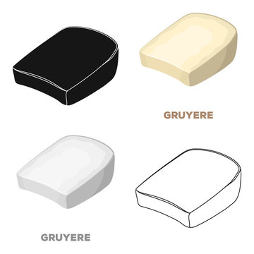 Gruyere.Different kinds of cheese single icon in cartoon style vector symbol stock illustration web.