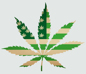 Usa map as green flag with cannabis leaf. Vector image