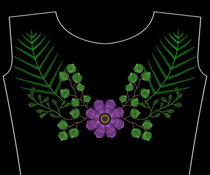 Embroidery stitches with protea, succulents cactus, anemone for neckline. Vector fashion embroidered ornament on black background for textile, fabric traditional folk floral decoration.