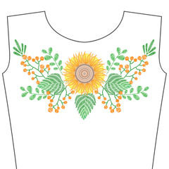 Embroidery stitches with sunflower, yellow flowers for neckline, spring grass. Vector fashion embroidered ornament for textile, fabric traditional folk decoration.