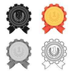 The award for first place.Gold medal with the red ribbon of the winner Olympics.Awards and trophies single icon in cartoon style vector symbol stock illustration.