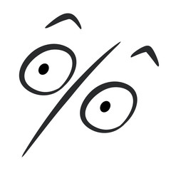 Percent sign in the form of open-eyed surpised face and raised eyebrows