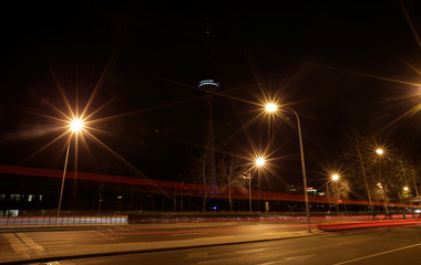 A view of China Central Radio and Television Tower during Earth Hour in Beijing