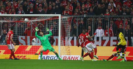 Borussia Dortmund's Ousmane Dembele scores their third goal