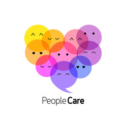 People face in heart shape. People care concept. logo design, illustration on white background.