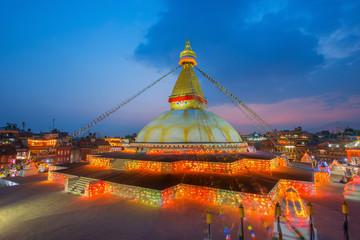 Twilight Boudhanath stupa Kathmandu Nepal, Selective focus