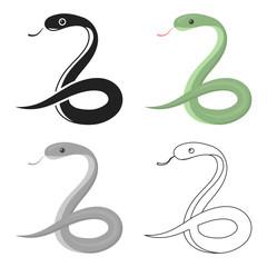 Snake icon cartoon. Singe animal icon from the big animals cartoon.