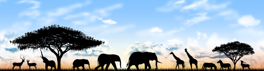 Animals of Africa. Silhouettes of wild animals of the African savannah
