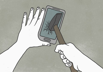 Illustration of cropped image of person breaking smart phone with hammer