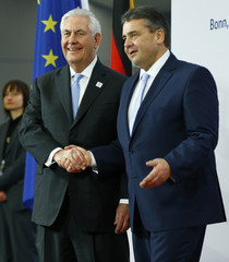 German Foreign Minister Gabriel welcomes U.S. Secretary of State Tillerson prior to the G-20 Foreign Ministers meeting in Bonn