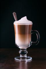 coffee latte macchiato on a black background