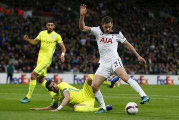 Gent's Stefan Mitrovic in action with Tottenham's Jan Vertonghen