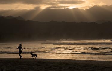 Hanalei Beach Kauai Hawaii Jogger Golden Sunset Island