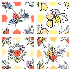 Vector seamless floral pattern with butterfly, apis, ladubug, splash, blots, drop Hand drawn contour lines and strokes Doodle sketch style, graphic vector drawing illustration