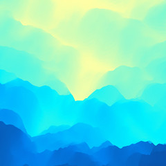 Poster Turquoise Mountain Landscape. Mountainous Terrain. Vector Illustration. Abstract Background.