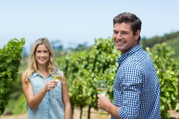 Portrait of smiling young couple holding wineglasses