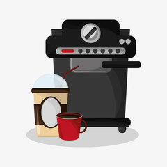 Coffee espresso machine with glass disponsable for hot drinks and mug vector illustration