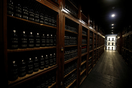 Bottles of Madeira wine are seen at the Blandy's wine cellar in Funchal