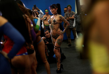 """Exotic model poses for photographs at a news conference to promote the """"Expo Sex and Eroticism"""" adult exhibition in Mexico City, Mexico"""