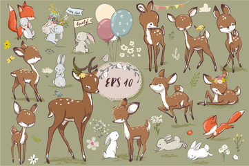 Wall Mural - set with cute hares and deer