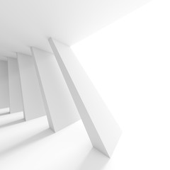 Abstract Architecture Design. White Modern Background. Minimal Building Construction