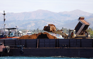 A back hoe loads soil containing nickel-ore minerals into a barge in the mining town of Sta Cruz Zambales in northern Philippines