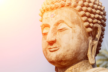 Big Buddha under construction in temple thailand.