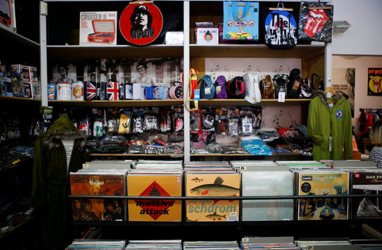 Vinyl albums and accessories are seen in the Recordbag shop ahead of the International Record Store day in Vienna
