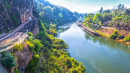 Tham Krasae amazing railway pass the cliff and river