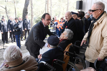 "French President Francois Hollande greets veterans during the inauguration of the Mont Faron ""Memorial du Debarquement et de la Liberation en Provence"" in Toulon,"