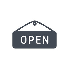 Open Sign Ecommerce silhouette icon