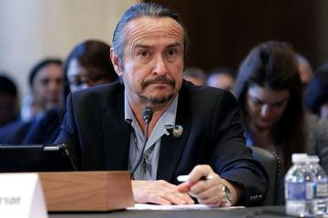 "Keith Anderson, vice chairman of the Shakopee Mdewakanton Sioux Community, testifies before the Senate Indian Affairs Committee hearing on ""Identifying Indian Affairs priorities for the Trump Administration"" at the U.S. Capitol in Washington"