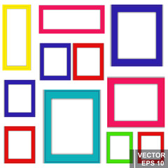Vector set of multi-colored frames for a photo. Square. Isolated on white background.