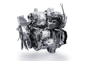 Car Engine isolated on white background with clipping path. Wall mural
