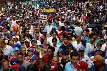 Demonstrators rally against Venezuela's President Nicolas Maduro in Caracas
