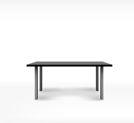 Empty black top table on isolated background. Template desk
