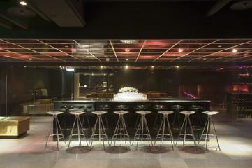 Metal stools in nightclub